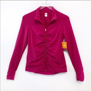 Lucy Pink Ruched Athletic Workout ZIP Up jacket S